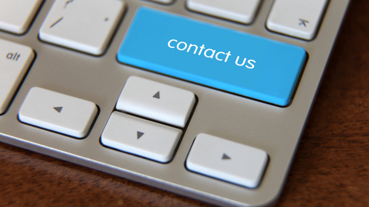 Laptop button says contact us