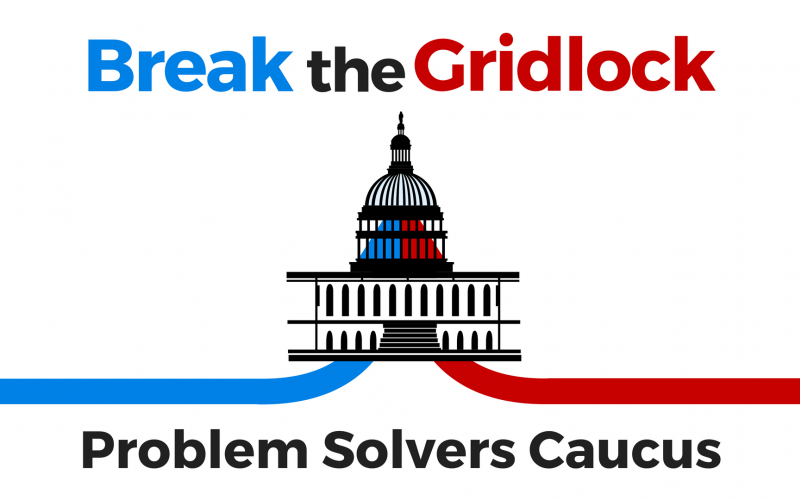 red white & blue break the gridlock with capitol